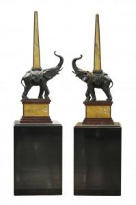 Slonovi, par Bronza i mermer Art deko 1930.godina Beneduce, potpisan Visina:101 cm,sa postoljem 163 cm