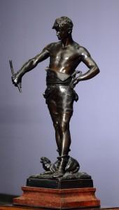 Gladijator figura Bronza, Francuska Eugene Marioton(1857-1933), potpisan Visina: 57 cm