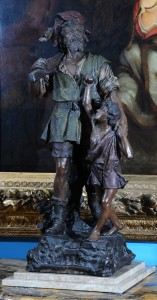 Figura terakota  A.Doebrih, potpisan Austrija, Beč, kraj 19. veka Visina: 92 cm (sa postoljem 98 cm)