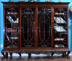 Biblioteka  Mahagoni, Engleska, 1900.godina Chippendale stil