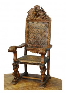 Fotelja  Italija, kraj 18. veka Prikaz borbi Rimljana