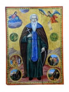 Ikona Miholjdan –Sveti Kiril Sa minijaturama levo i desno Grčja,prva polovina 19.veka Dimenzija  65 x 47,5 cm